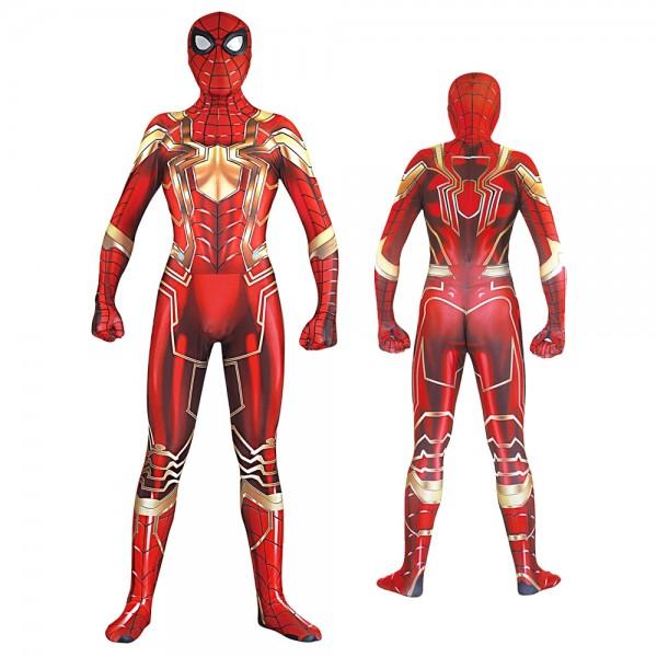 Iron Spider Man Suit Golden Edition for Kids & Adult Halloween Cosplay Costumes Spandex Zentai