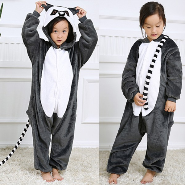 Lemur Kids Animal Onesie Pajamas Cosplay Cute Costume