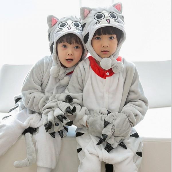 Cheese Cat Kids Animal Onesie Pajamas Cute Costume