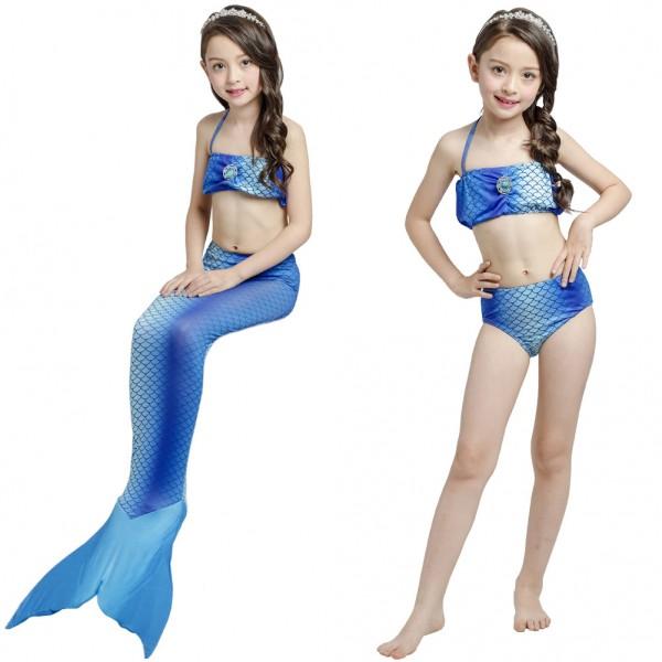 Swimmable Mermaid Swimsuit For Girls Blue Mermaid Swimming Bathing Suit Bikini Sets