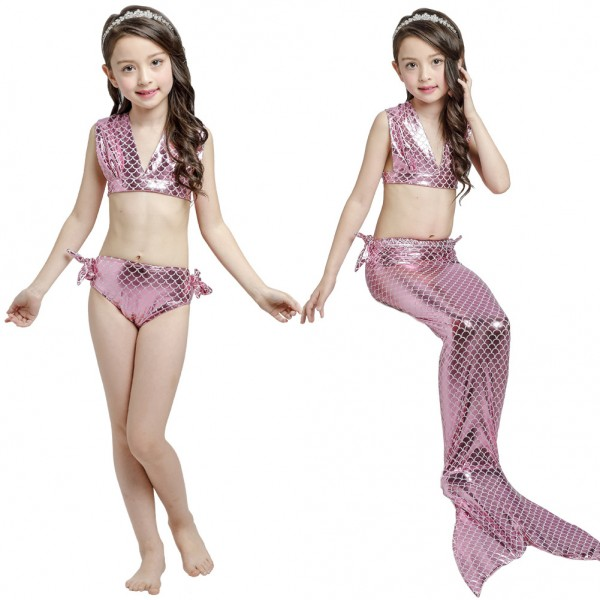 Mermaid Bikini For Girls Kids Swimmable Mermaid Tail Swimsuits Costume Set