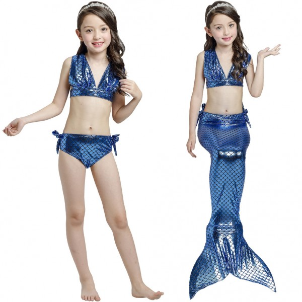 Toddler Swimmable Mermaid Tail Swimsuit Bikini Sets For Girls Mermaid Costume