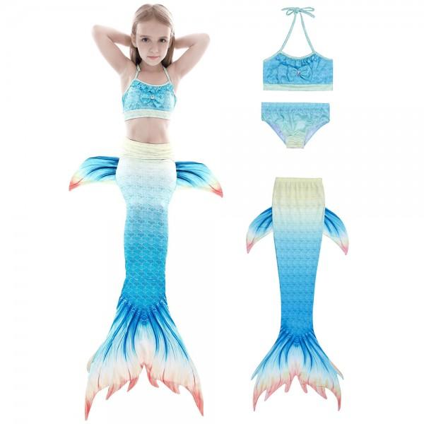Kids Girls Swimmable Mermaid Tail For Pool Swimsuits Bikini Mermaid Costume