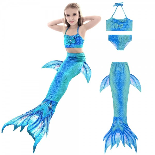 Swimmable Mermaid Tale For Kids Girls Swimsuits Bikini Mermaid Costume