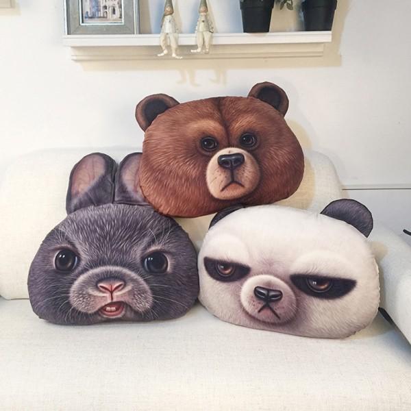 Animal Pillow 3d Cartoon Pillow Bunny, Bear & Panda
