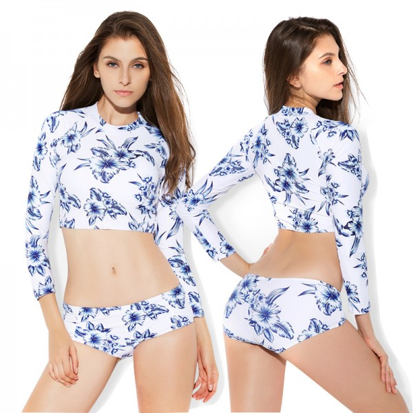 Two Piece White Swimsuits Womens Bathing Suits Surf Suit Long Sleeve