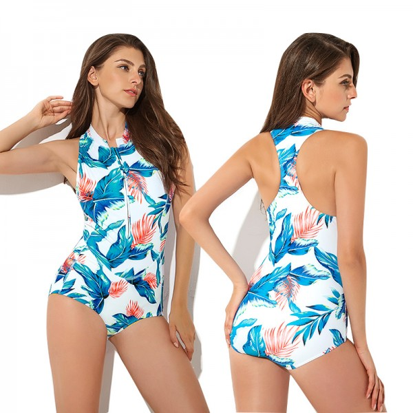 One Piece Womens Bathing Suit Zip Up Teen Swimsuits Blue Leaf Print