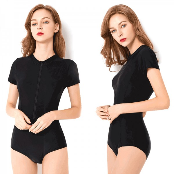 Black One Piece Swimsuit Womens Bathing Suits Zip Up Rash Guard Surf Suit
