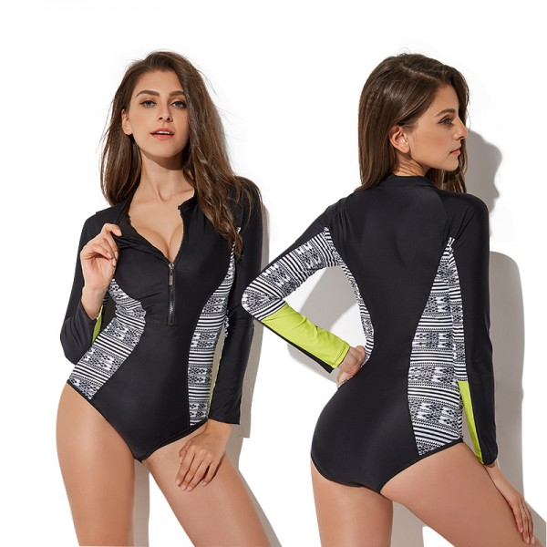 One Piece Bathing Suits Long Sleeve Womens Rash Guard Zip Up