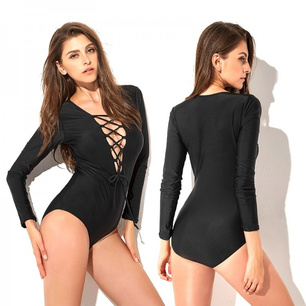 Womens Black One Piece Swimsuits Tie Rope Bathing Suits Bikini Long Sleeve
