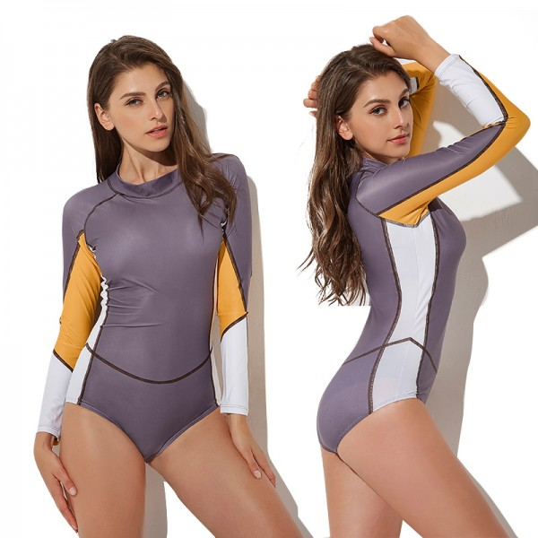 Womens One Piece Swimsuits Color Stitching Rash Guard Surf Suits