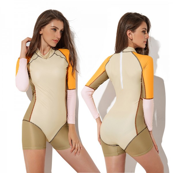 Womens One Piece Rash Guard Surf Suits High Neck Swimsuits Long Sleeve