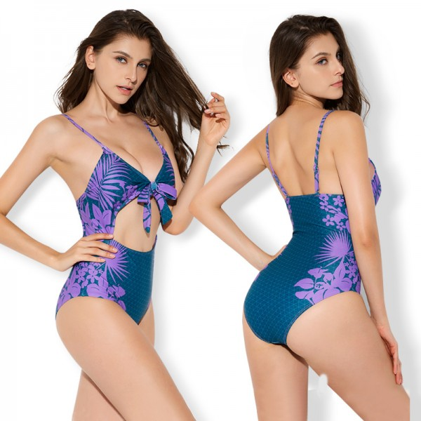 Cute One Piece Bikinis For Women Swimsuits Purple Print Bathing Suits