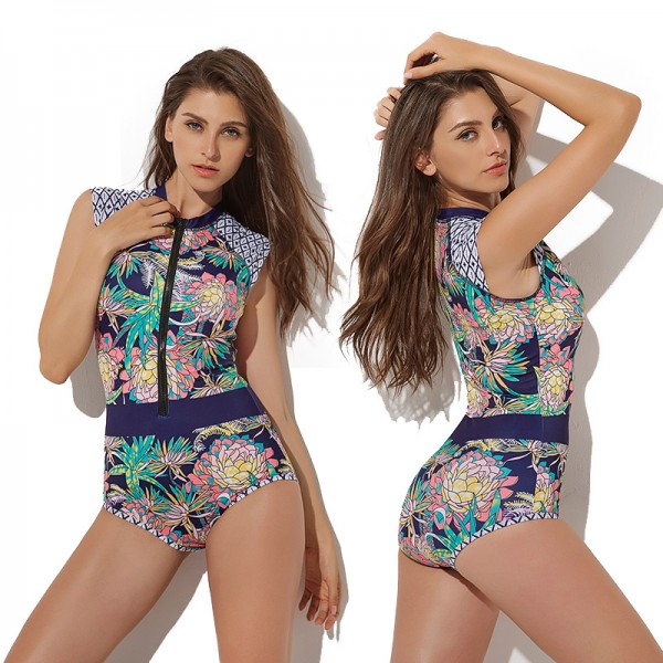 One Piece Rash Guard Women Short Sleeve Swimsuits Floral Bathing Suits