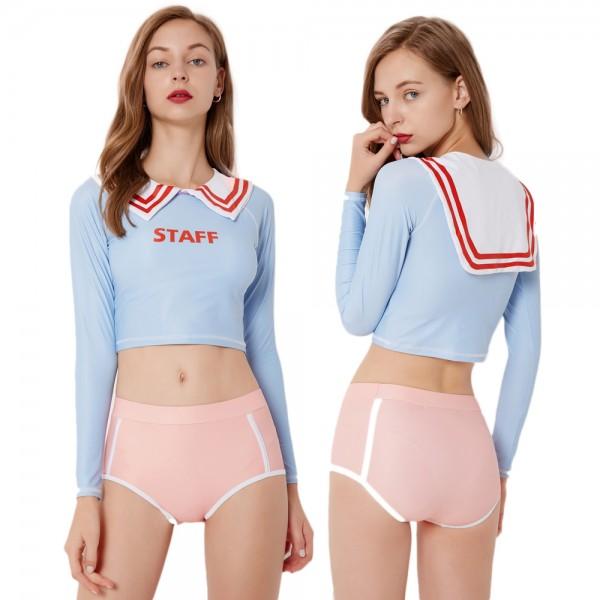 Cute 2Pcs Blue Swimsuits For Women Cheap Bathing Suits Sailor Style