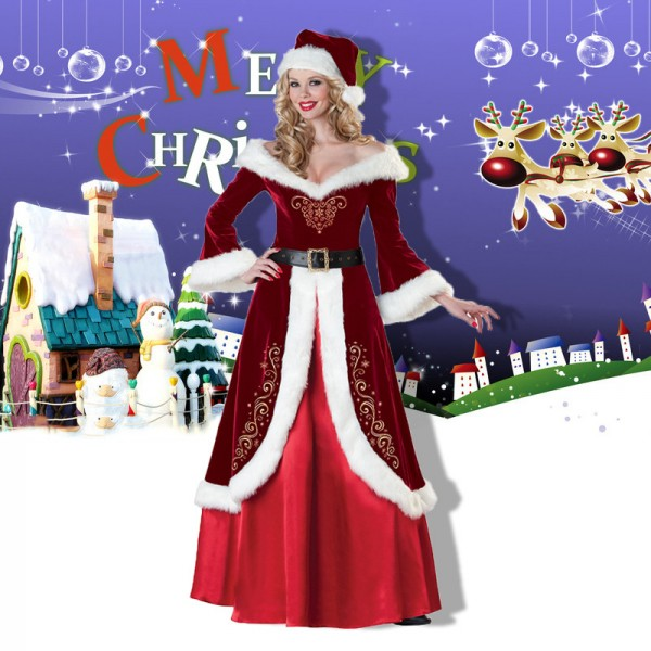 Mrs Claus Costume Outfit Womens Santa Dress Outfit Full Sets