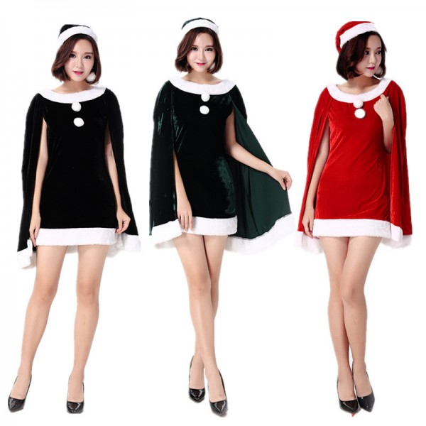 Mrs Claus Costume Outfit Elegant Womens Santa Dress
