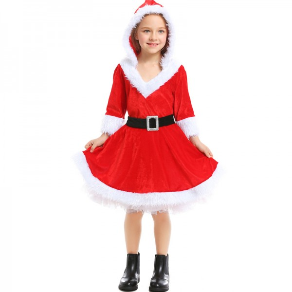 Girls Santa Dress Cute Christmas Costume For Kids