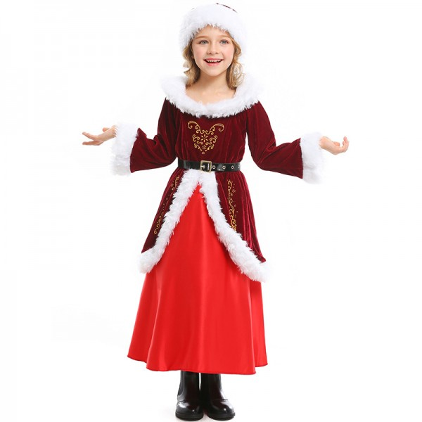 Girls Santa Dress Warm Kids Santa Costume