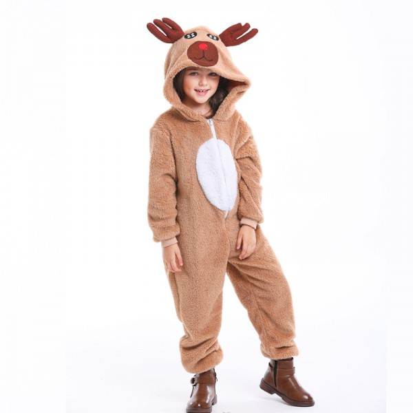 Kids Reindeer Costume Christmas Suit Outfit For Boys & Girls