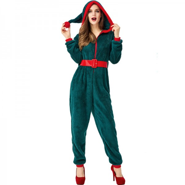 Mrs Claus Costume Santa Onesie For Women Green