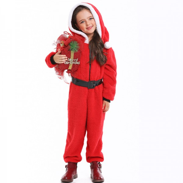 Girls Santa Suit Costume Outfit Christmas Party Onesie Red