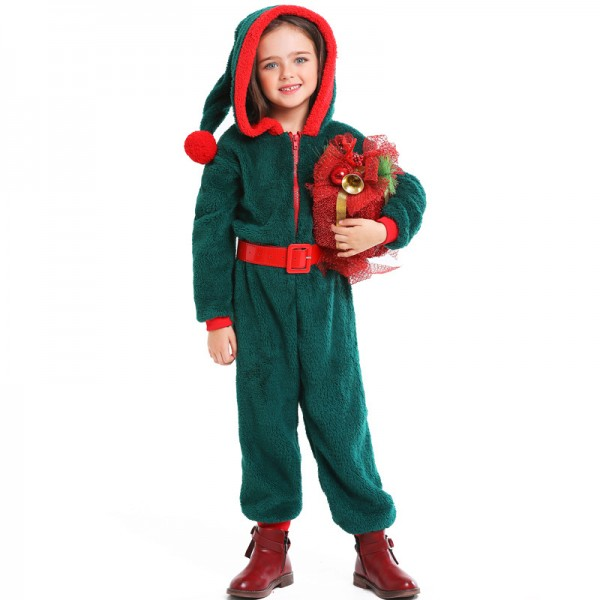 Girls Santa Suit Costume Outfit Christmas Party Onesie Green