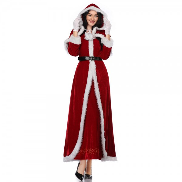 Mrs Claus Costume Christmas Outfit For Women Santa Long Dress