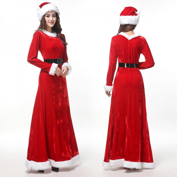Mrs Claus Costume Womens Santa Long Dress With Hat