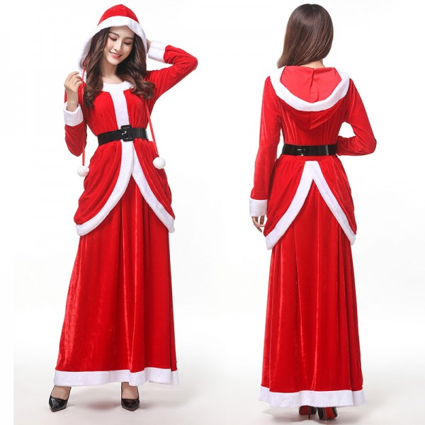 Mrs Claus Costume Santa Long Dress Christmas Party Outfit