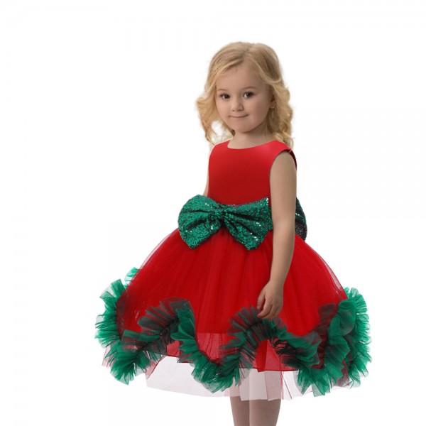Girls Santa Dress Christmas Praty Tutu Princess Dress Red