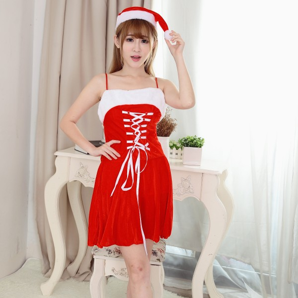 Womens Sexy Santa Slip Dress With Hat Womens Christmas Costumes Outfit
