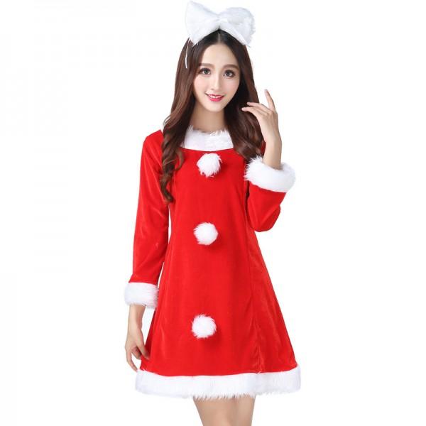 Womens Christmas Costumes Santa Dress With Headwear