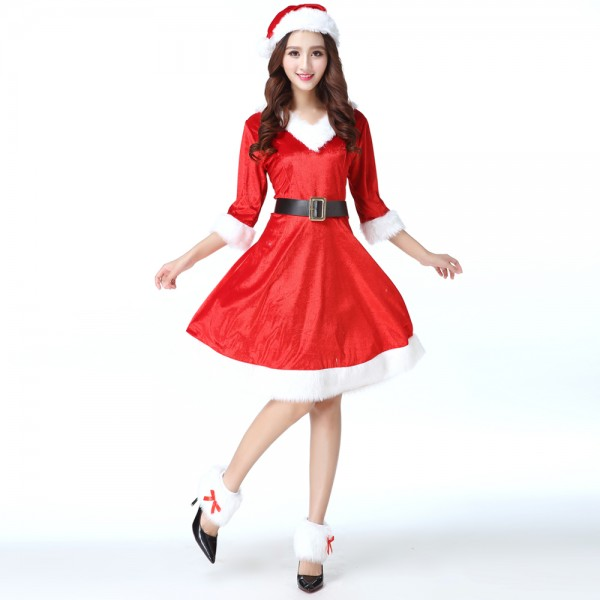 Women Santa Dress With Hat Christmas Party Costume Sets