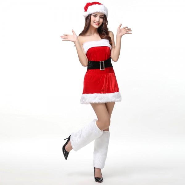 Womens Santa Tube Dress Sexy Christmas Costume