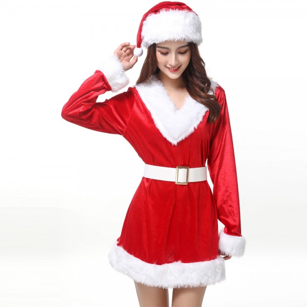 Womens Christmas Dress With Hat Sets Santa Costume Outfit