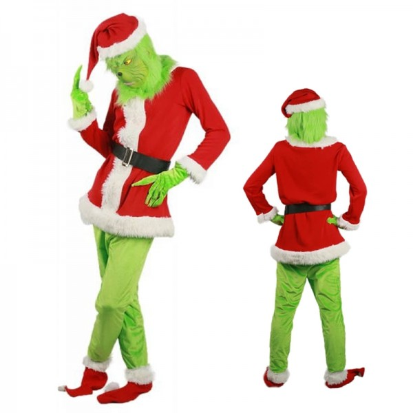 Grinch Costume Adult Grinch Outfit Christmas Costume Full Sets With Mask & Gloves