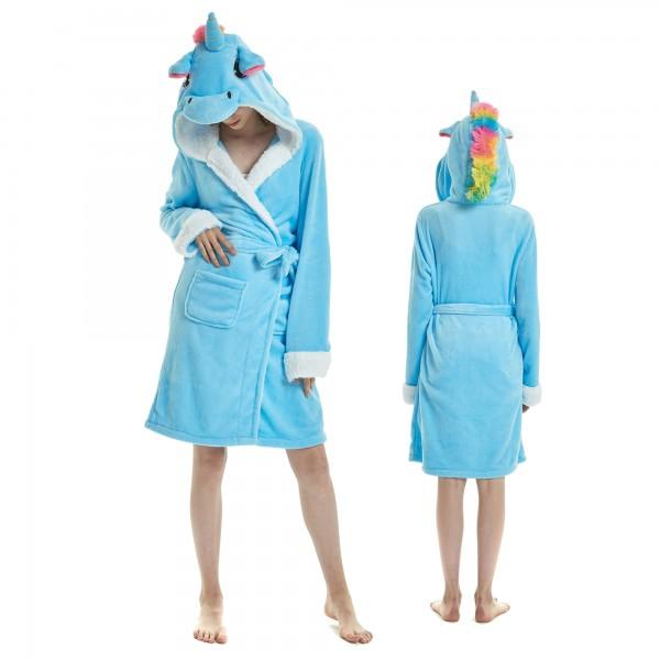 Blue Unicorn Bathrobe for Women Flannel Hooded Robe