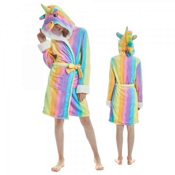 Rainbow Unicorn Bathrobe for Women Flannel Hooded Robe