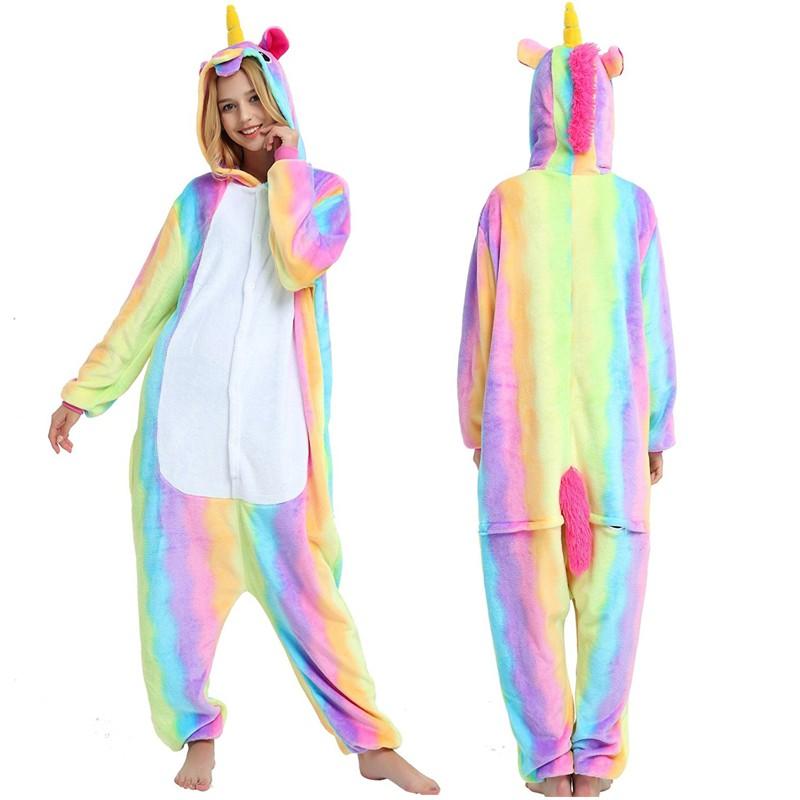 6c00b948c6c3 Rainbow Unicorn Womens   Mens Animal Onesie Pajamas Costume
