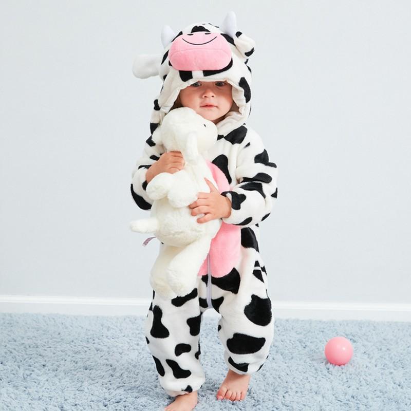 Girls Pink Cow One Piece Pyjama Suit