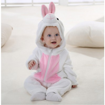 82a9bf152fe White Bunny Baby Boy   Girls Animal Cute Oneises Pajamas Costume