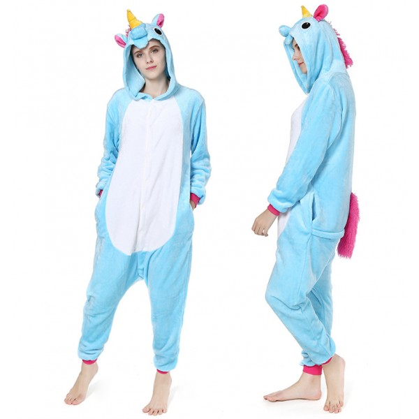 f0ec26f1f Blue Unicorn Onesie Pajamas For Adult Animal Costume Buy Online