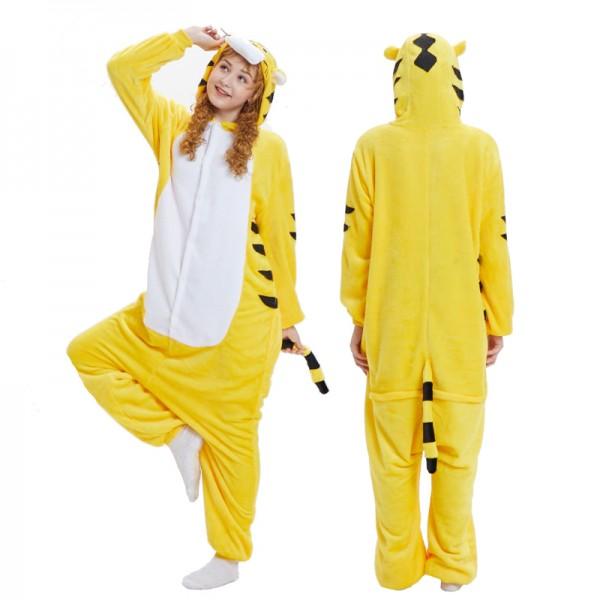 da7099b46759 Yellow Tiger Onesie Pajamas  Buy Adult Animal Onesies On Pjsbuy