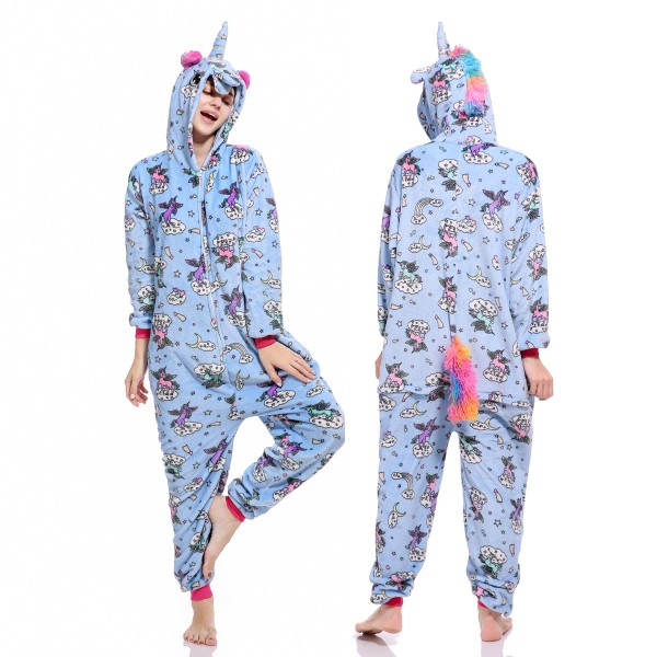 fbd7da867f01 Blue Unicorn Onesie Pajamas For Women   Men Quality Animal Costume ...