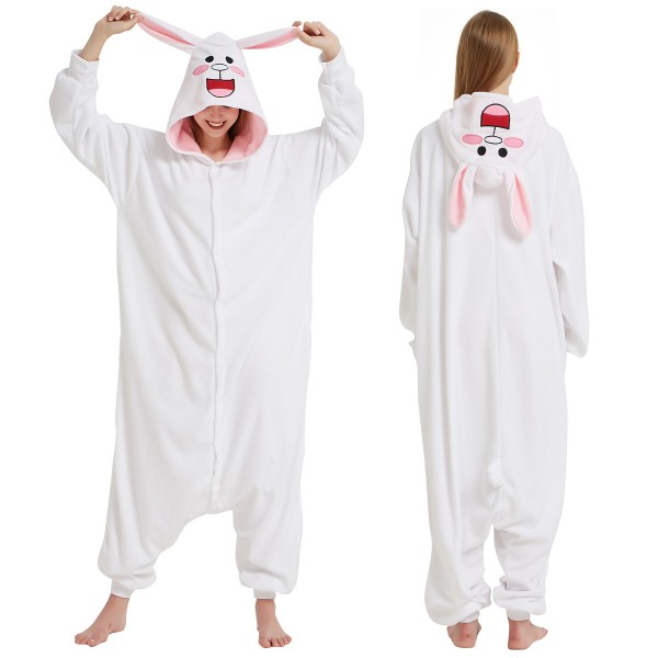 ab667382234e Adult Animal Onesies  White Bunny Onesie Pajamas On Hot Sale