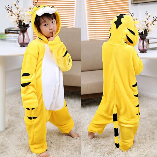 3abef8d7f266 Yellow Tiger Kids Animal Onesie Pajamas Anime Cute Costume