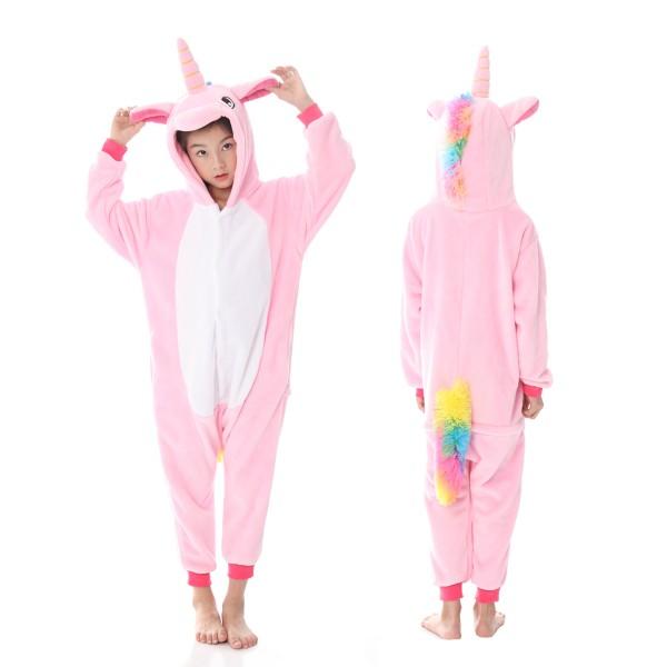 94dea22203a1 Pink Unicorn Onesie Pajamas For Boys   Girls Quality Animal Costume ...